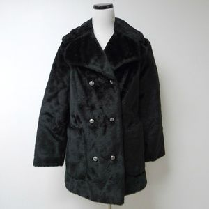 VTG faux fur double breasted coat . Made in USA